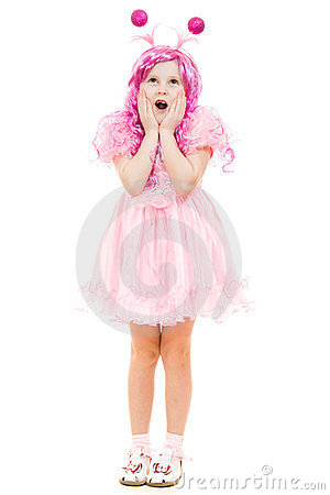 Surprised girl with pink hair in a pink dress