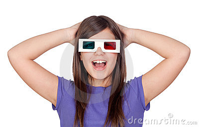 Surprised girl with three-dimensional glasses