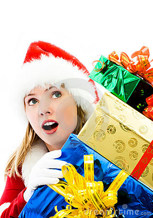 Free Surprised Girl With A Lot Of Christmas Presents Stock Photo - 6859980