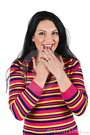 Surprised happy woman
