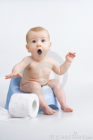 Surprised infant on potty.