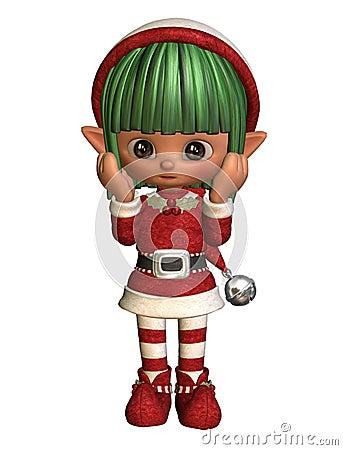 Surprised little christmas elf