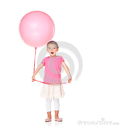 Surprised little girl with a balloon on white