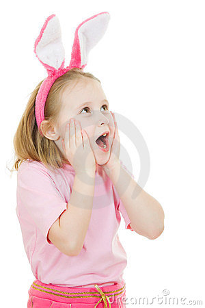 Surprised little girl with pink ears bunny