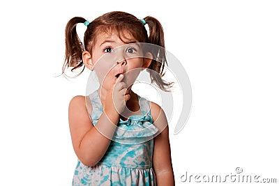 Surprised little toddler girl