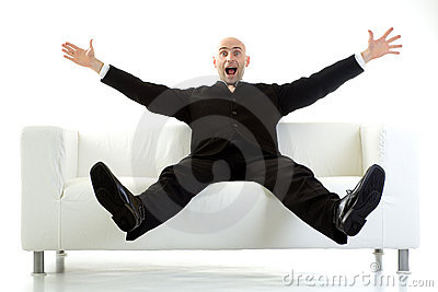 Surprised man on couch