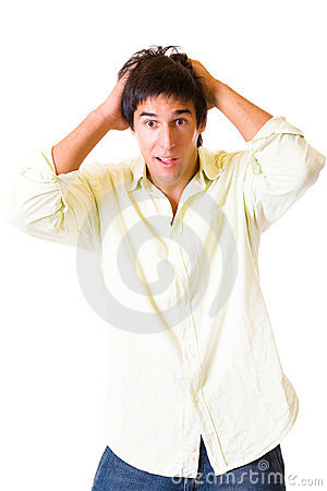 Surprised man gesturing