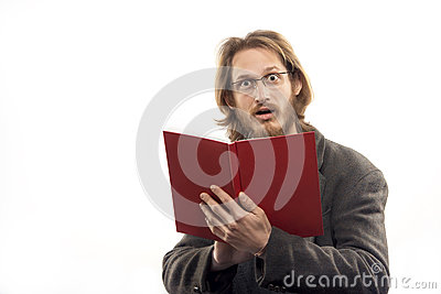 Surprised Man With Red Book