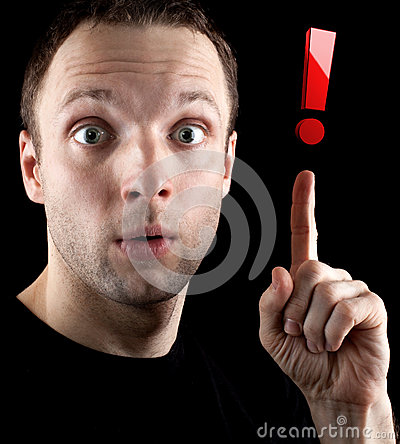Surprised man shows red exclamation mark