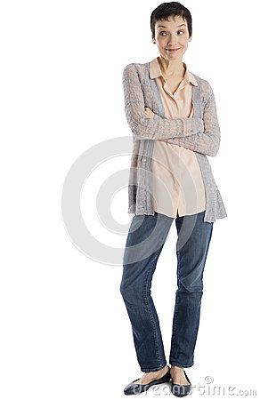 Surprised Mature Woman Standing Arms Crossed