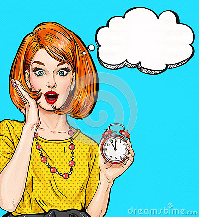 Free Surprised Pop Art Girl With Clock With Thought Bubble. Party Invitation. Birthday Card. Hollywood, Movie Star. Comic Woman. Royalty Free Stock Photo - 74169575