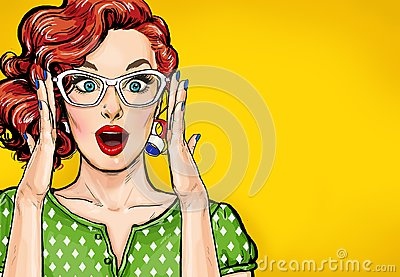 Surprised Pop Art woman in hipster glasses. Advertising poster or party invitation with club girl with open mouth Stock Photo