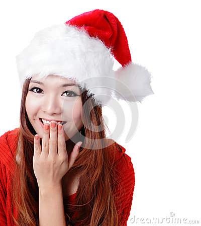Surprised Santa girl smile covering her mouth