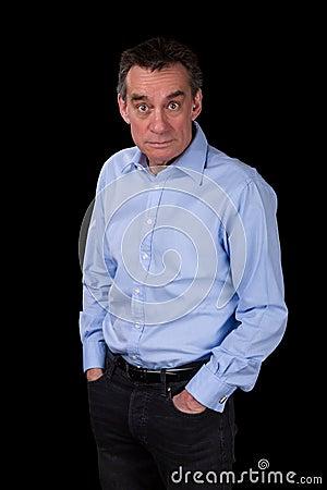 Surprised Shocked Staring Business Man in Blue Shirt