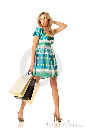 Surprised shopping woman