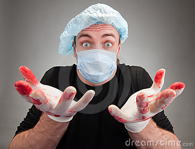 Surprised sick surgeon