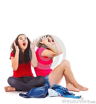 Surprised teenage girls