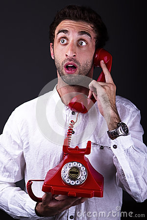A surprised telephoneman