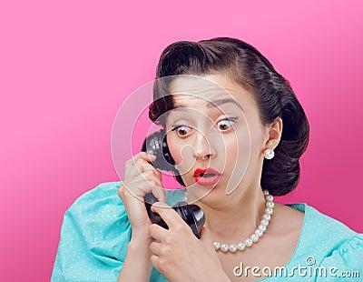 Surprised Vintage woman