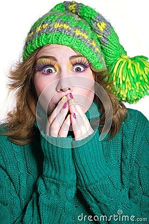 Surprised winter girl