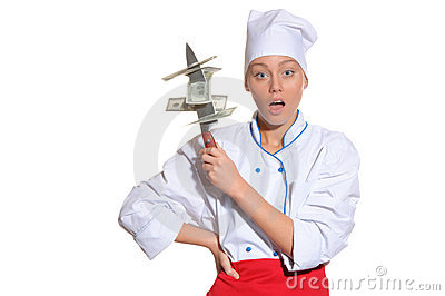 Surprised woman- chef with knife and money