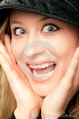 Surprised woman face scream