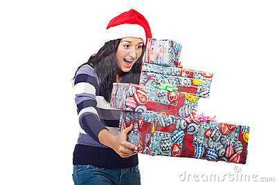 Surprised woman about gifts falling