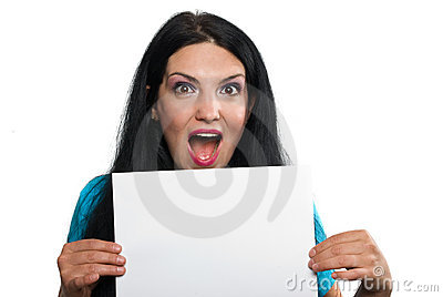 Surprised woman holding a blank page