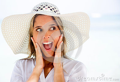 Surprised woman on holidays