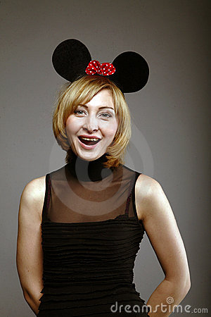 Surprised woman in a mouse mask