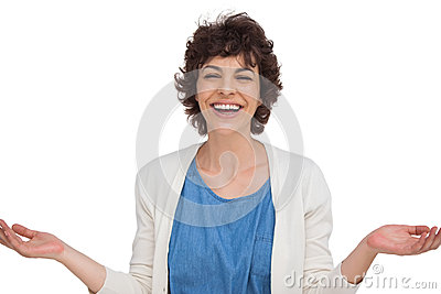 Surprised woman opening her arms