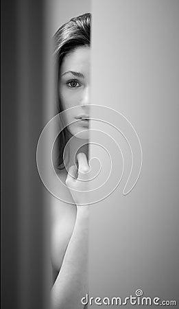 & Woman Peeking Through Door Royalty Free Stock Photo - Image: 11918985 Pezcame.Com
