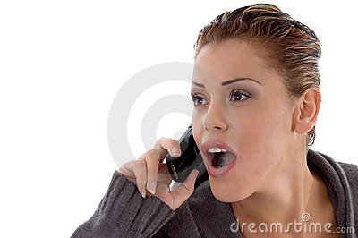 Surprised woman on phone call