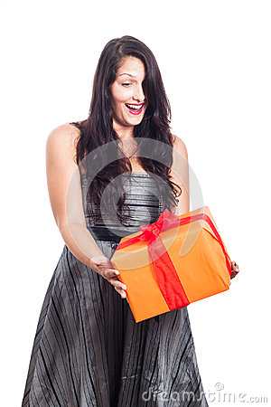 Surprised woman with present