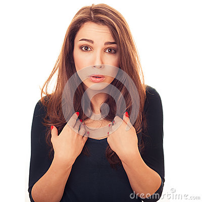 Surprised woman shows itself questioningly
