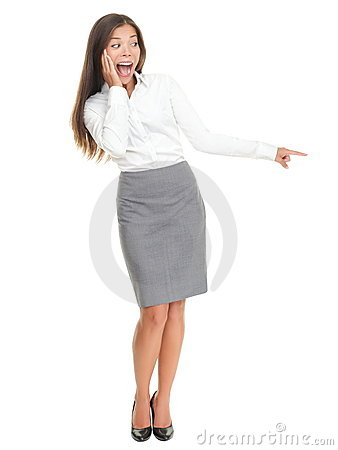 Surprised woman standing isolated