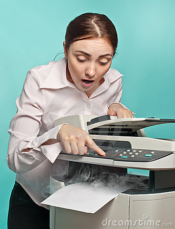 Free Surprised Woman With Smoking Copier Stock Images - 21418724