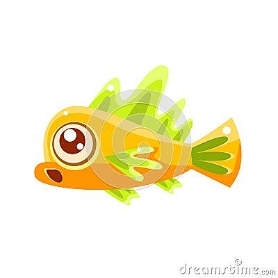 Free Surprised Yellow Fantastic Aquarium Tropical Fish Cartoon Character Stock Photos - 80310843