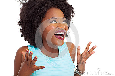 Surprised african woman