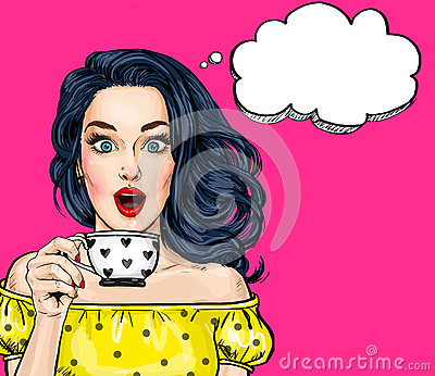 Surprised young sexy woman with open mouth with cup.Comic woman. Amazed women. Stock Photo