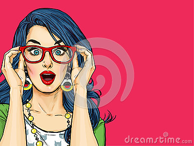 Surprised young sexy woman with open mouth in glasses.Comic woman. Stock Photo
