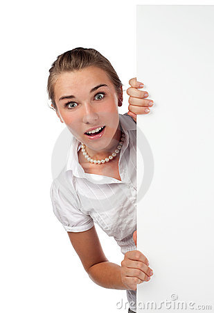 Surprised young woman holding board