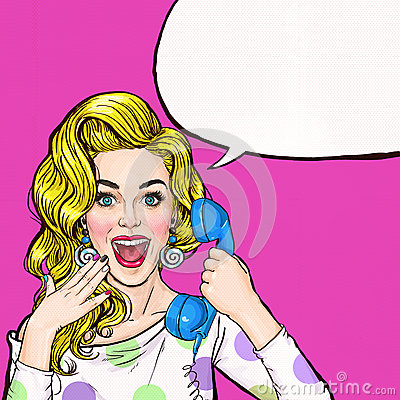Free Surprised Young Woman Shouting/yelling On Retro Telephone.Advertising Poster.Comic Woman.Gossip Girl, Red Cheeks, Curls, Stock Images - 70397834