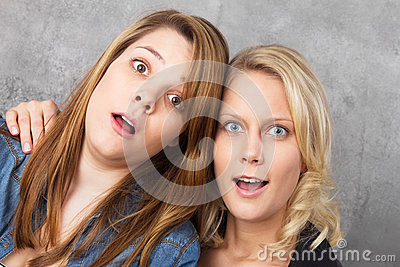 Surprised young women