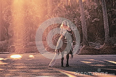 Surreal dream scene of woman on horse