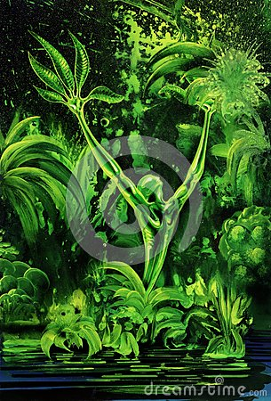 Surreal green plant