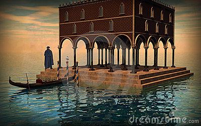 Surreal illustration of Venice lagoon