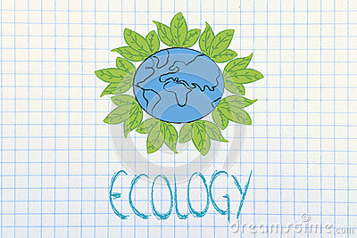 Surreal interpretation of green economy, planet earth with leave