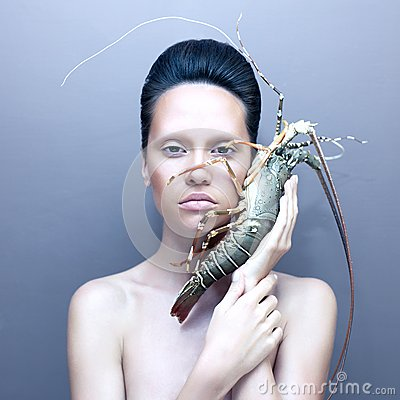 Surreal lady with lobster