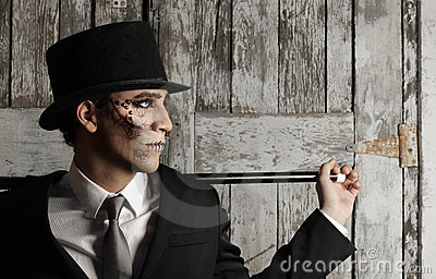 Surreal man in top hat